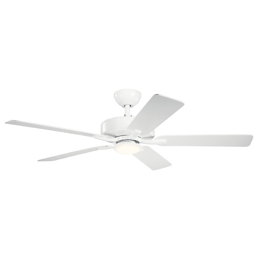 Kichler Lighting Basics Pro Designer Matte White LED 52-Inch Ceiling Fan with Light 3000K 330019MWH