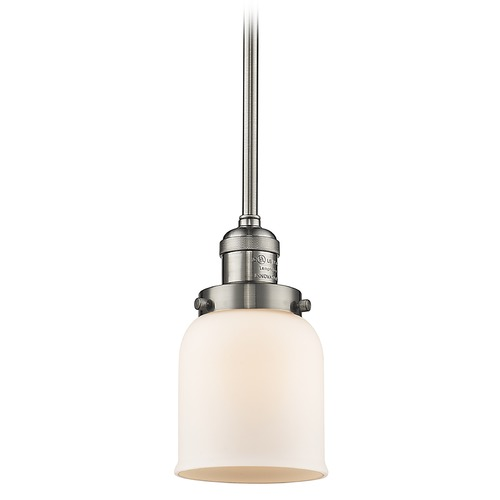 Innovations Lighting Innovations Lighting Small Bell Brushed Satin Nickel Mini-Pendant Light with Bell Shade 201S-SN-G51