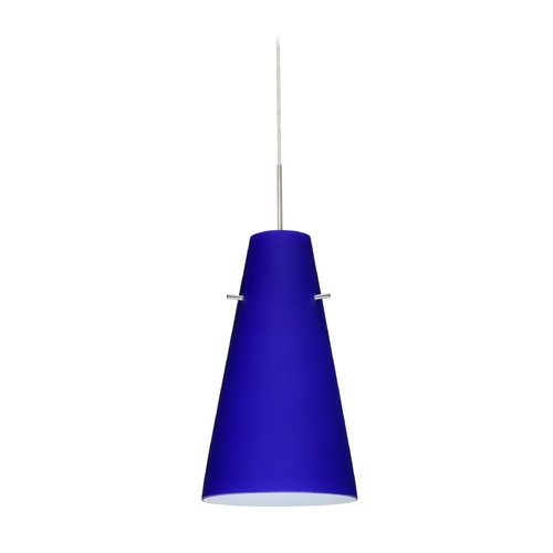 Besa Lighting Modern Pendant Light with Blue Glass in Satin Nickel Finish 1JT-4124CM-SN