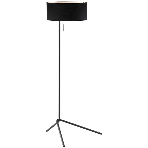Adesso Home Lighting Modern Floor Lamp with Black Shade in Black Finish 6191-01