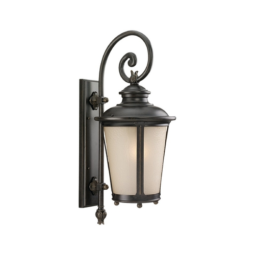 Sea Gull Lighting Outdoor Wall Light with White Glass in Burled Iron Finish 89342BLE-780