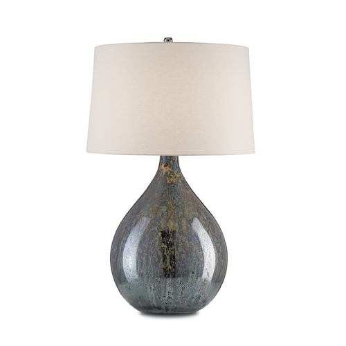 Currey and Company Lighting Modern Table Lamp in Blue Mercury & Nickel Finish 6909