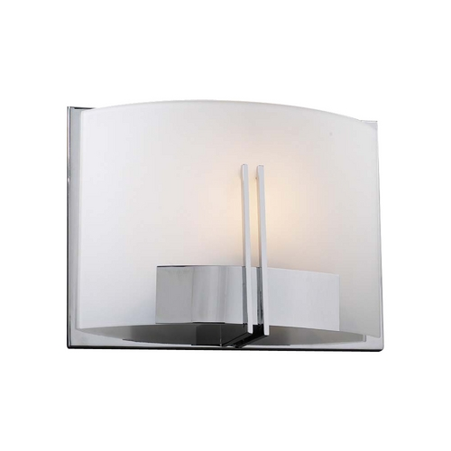 PLC Lighting Modern Sconce Wall Light with White Glass in Polished Chrome Finish 36639 PC