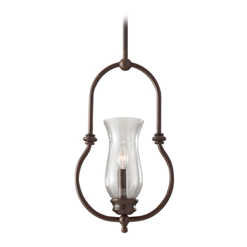 Feiss Lighting Mini-Pendant Light with Clear Glass in Heritage Bronze Finish P1268HTBZ