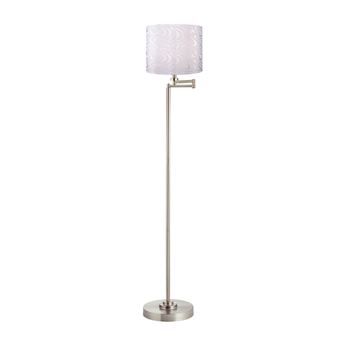 Design Classics Lighting Swing Arm Floor Lamp with Silver Drum Lamp Shade 1901-09 SH9497