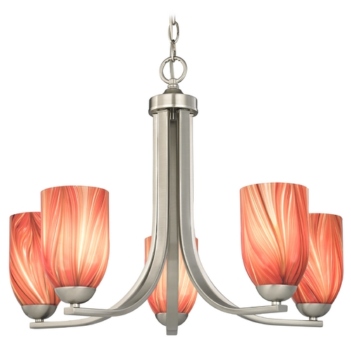Design Classics Lighting Chandelier with Red Art Glass in Satin Nickel Finish 584-09 GL1017D