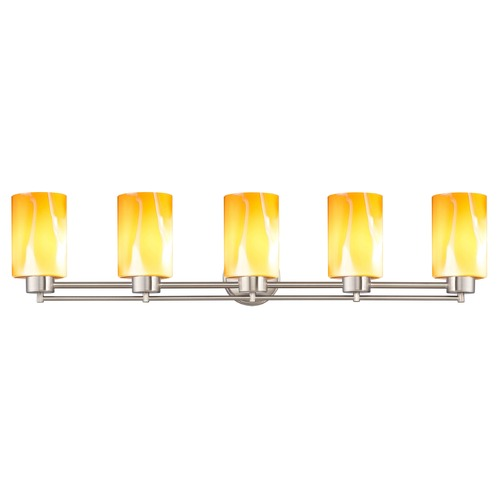 Design Classics Lighting Design Classics Salida Fuse Satin Nickel Bathroom Light with Butterscotch Art Glass 706-09 GL1022C