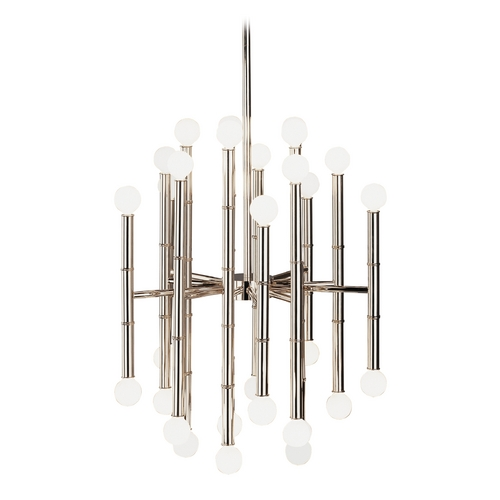 Robert Abbey Lighting Mid-Century Modern Chandelier Polished Nickel Jonathan Adler Meurice by Robert Abbey S654