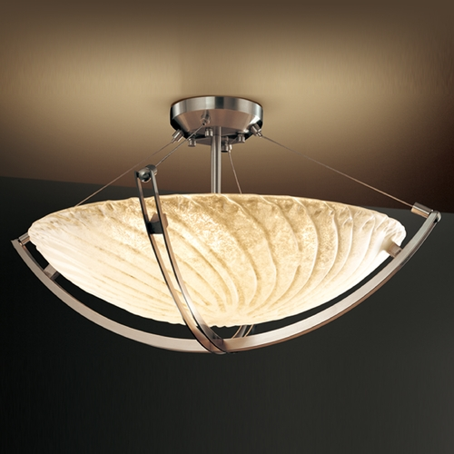 Justice Design Group Justice Design Group Veneto Luce Collection Semi-Flushmount Light GLA-9712-35-WHTW-NCKL