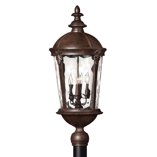 Hinkley Post Light with Clear Glass in River Rock Finish 1891RK