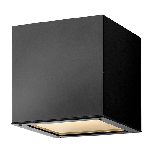 Hinkley Lighting Modern Outdoor Wall Light with White Glass in Satin Black Finish 1767SK-GU24