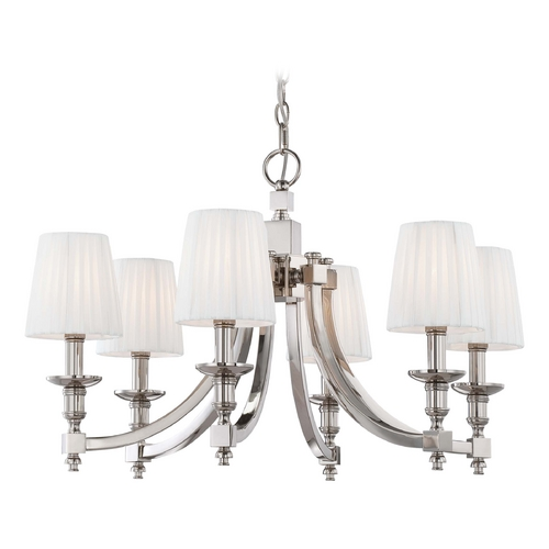 Metropolitan Lighting Chandelier with White Shades in Polished Nickel Finish N6802-613