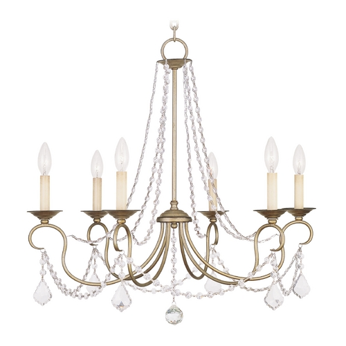 Livex Lighting Livex Lighting Pennington Antique Silver Leaf Crystal Chandelier 6516-73