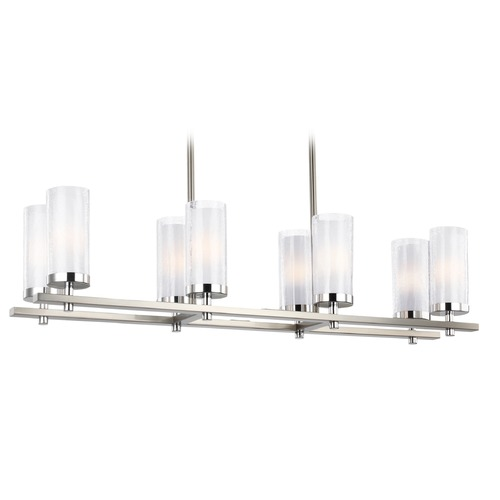 Feiss Lighting Feiss Lighting Jonah Satin Nickel / Chrome Island Light with Cylindrical Shade F2986/8SN/CH
