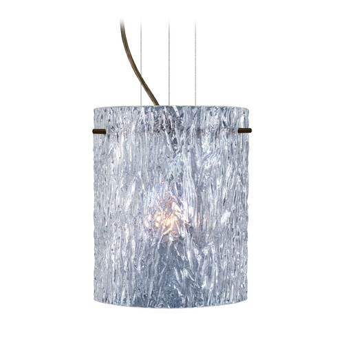Besa Lighting Besa Lighting Tamburo Bronze Mini-Pendant Light with Cylindrical Shade 1KG-400600-BR