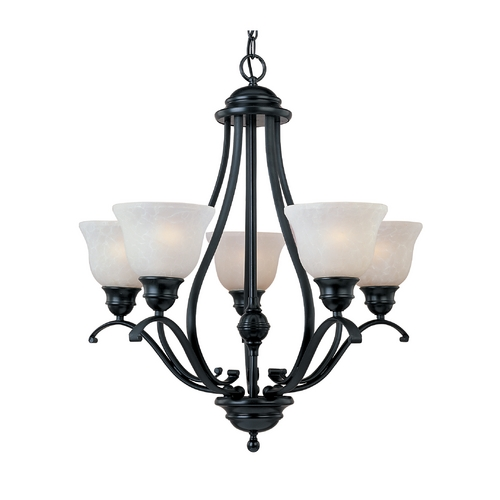 Maxim Lighting Chandelier with White Glass in Black Finish 11805ICBK