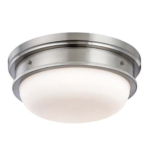 Hudson Valley Lighting Flushmount Light with White Glass in Satin Nickel Finish 3323-SN