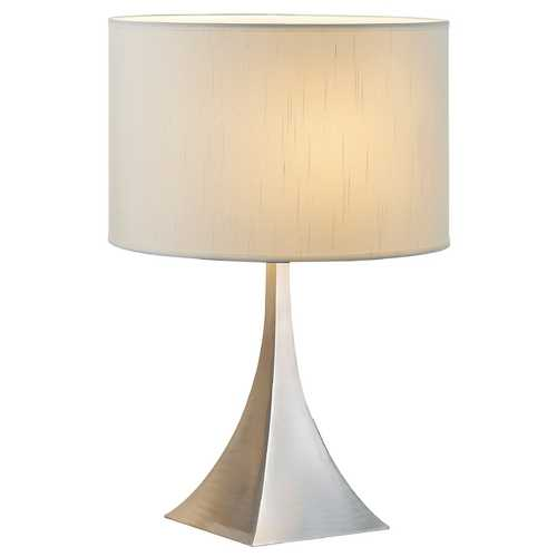 Adesso Home Lighting Modern Table Lamp with White Shade in Satin Steel Finish 6363-22