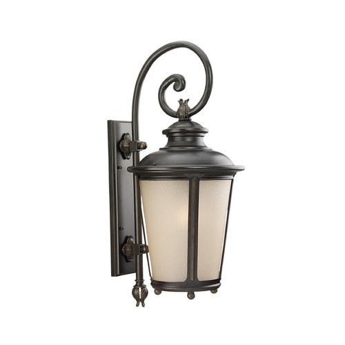 Sea Gull Lighting Outdoor Wall Light with White Glass in Burled Iron Finish 89343BLE-780