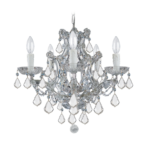 Crystorama Lighting Crystal Mini-Chandelier in Polished Chrome Finish 4405-CH-CL-S