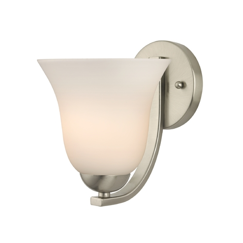 Design Classics Lighting Modern Wall Sconce with White Bell Glass in Satin Nickel Finish 585-09 GL9222-WH
