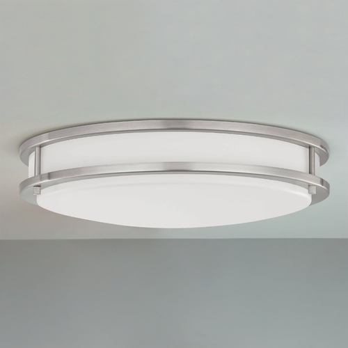 Design Classics Lighting LED Flush Mount Ceiling Light Satin Nickel 17-Inch 3016-90-09