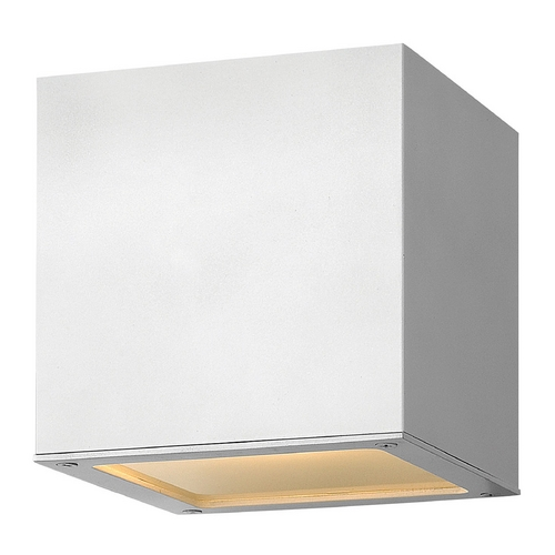 Hinkley Lighting Modern Outdoor Wall Light with White Glass in Satin White Finish 1767SW-GU24