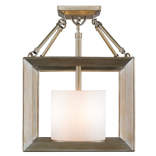 Golden Lighting Golden Lighting Smyth White Gold Semi-Flushmount Light 2073-SF WG