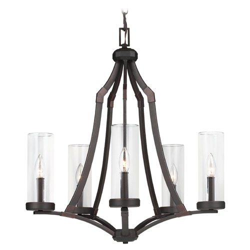 Feiss Lighting Feiss Lighting Jacksboro Dark Antique Copper / Antique Copper Chandelier F3080/5DAC/AC