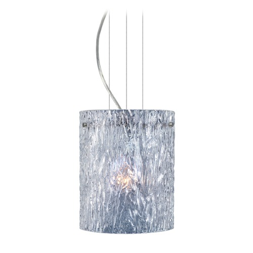 Besa Lighting Besa Lighting Tamburo Satin Nickel Mini-Pendant Light with Cylindrical Shade 1KG-400600-SN
