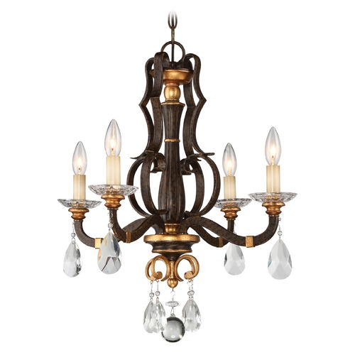 Metropolitan Lighting Chateau Nobles Raven Bronze with Sunburst Gold Crystal Chandelier N6454-652