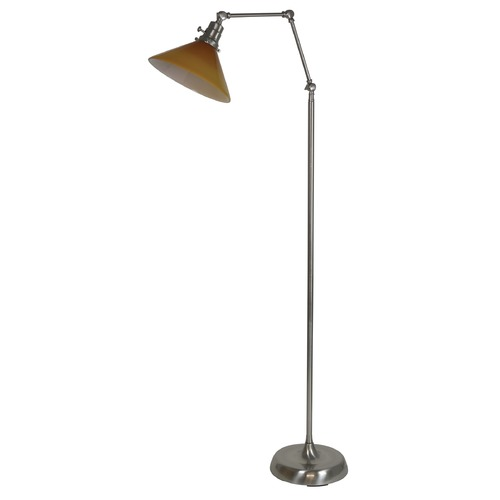 House of Troy Lighting House Of Troy Otis Satin Nickel Floor Lamp with Conical Shade OT600-SN-AM