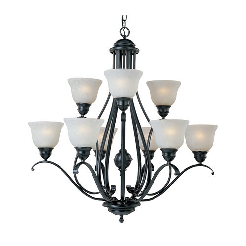 Maxim Lighting Chandelier with White Glass in Black Finish 11806ICBK