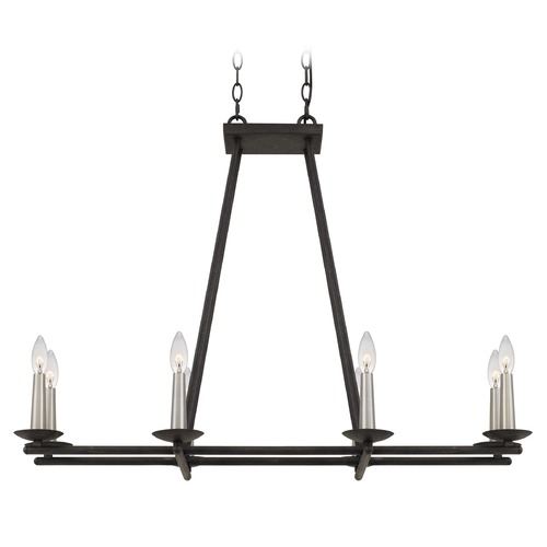 Quoizel Lighting Transitional Rustic Black and Brushed Nickel 8-Light Island Light CUT836RK