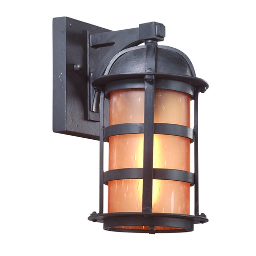 Troy Lighting Outdoor Wall Light with Amber Glass in Natural Bronze Finish B9250NB