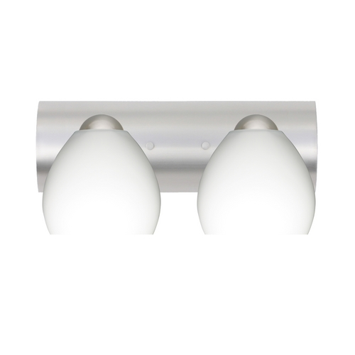 Besa Lighting Bathroom Light with White Glass in Satin Nickel Finish 2WZ-412207-SN