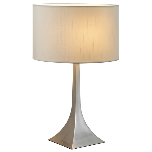 Adesso Home Lighting Modern Table Lamp with White Shade in Satin Steel Finish 6364-22