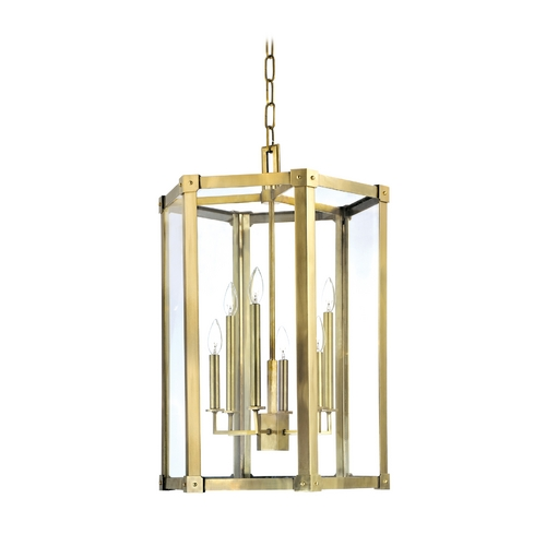 Hudson Valley Lighting Modern Pendant Light with Clear Glass in Aged Brass Finish 6220-AGB