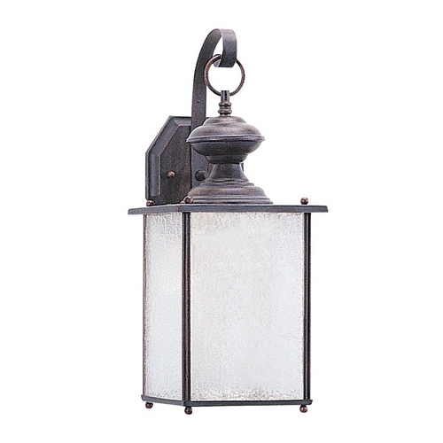 Sea Gull Lighting Outdoor Wall Light with White Glass in Textured Rust Patina Finish 89382BLE-08