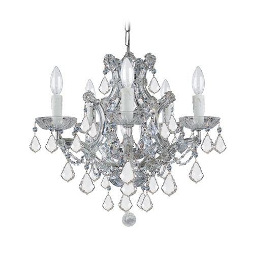 Crystorama Lighting Crystal Mini-Chandelier in Polished Chrome Finish 4405-CH-CL-SAQ