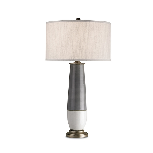 Currey and Company Lighting Modern Table Lamp in Pyrite Bronze/gray/white Crackle Finish 6905