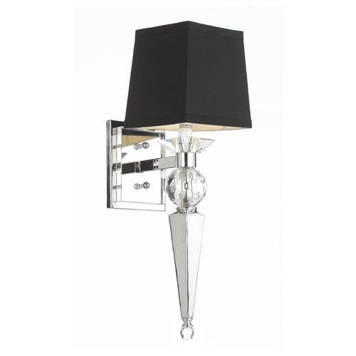 AF Lighting Modern Sconce Wall Light with Black Shade in Chrome Finish 8406-1W