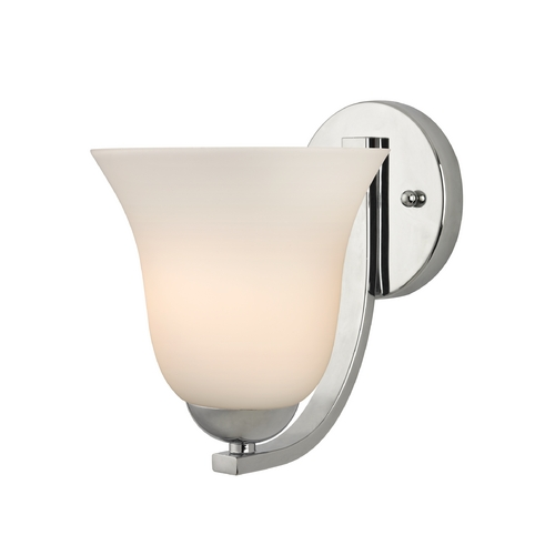 Design Classics Lighting Polished Chrome Wall Sconce with White Bell Glass Shade 585-26 GL9222-WH