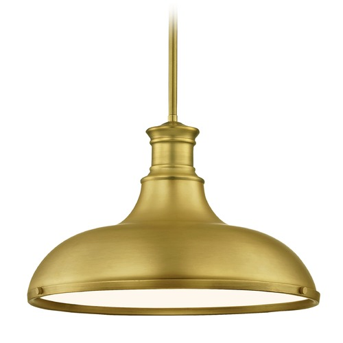 Design Classics Lighting Farmhouse Brass Pendant Light 15.63-Inch Wide 1761-12 SH1777-12 R1777-12