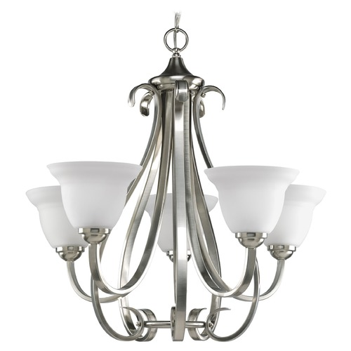Progress Lighting Progress Chandelier with White Glass in Brushed Nickel Finish P4416-09