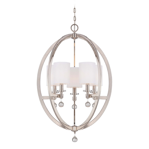 Metropolitan Lighting Crystal Orb Chandelier Pendant Light with White Drum Shades N6842-613