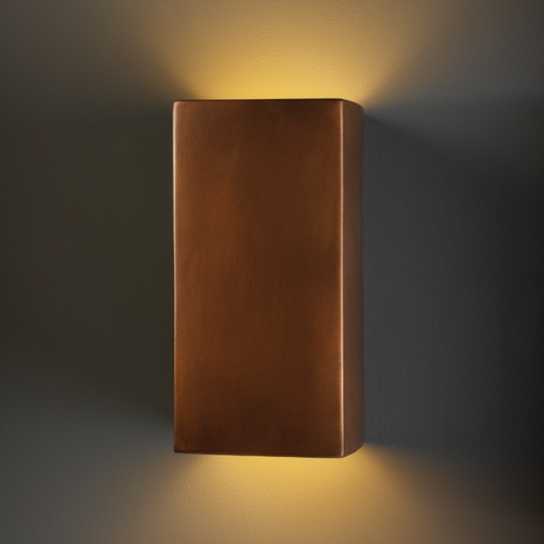 Justice Design Group Outdoor Wall Light in Antique Copper Finish CER-0955W-ANTC