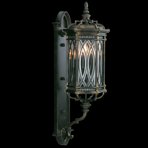 Fine Art Lamps Fine Art Lamps Warwickshire Dark Wrought Iron Patina Outdoor Wall Light 612281ST