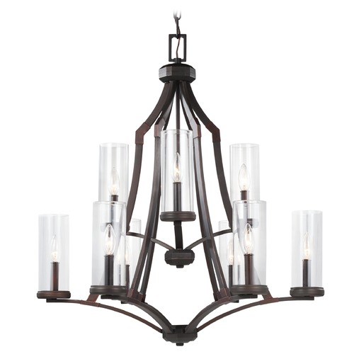 Feiss Lighting Feiss Lighting Jacksboro Dark Antique Copper / Antique Copper Chandelier F3081/9DAC/AC