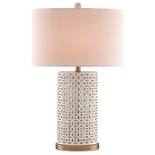 Currey and Company Lighting Currey and Company Bellemeade Ivory/antique Brass Table Lamp with Drum Shade 6925